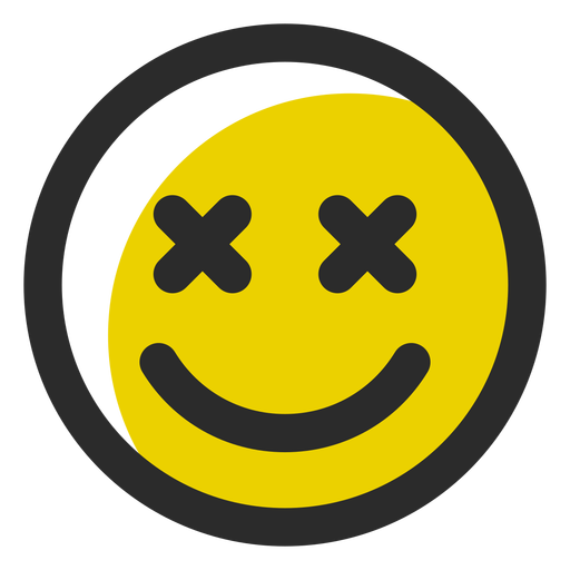 X eyes colored stroke emoticon.
