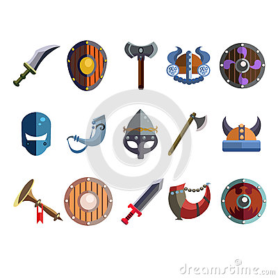 Viking Cartoon Weapon And Equipment. Game Icons Stock Vector.