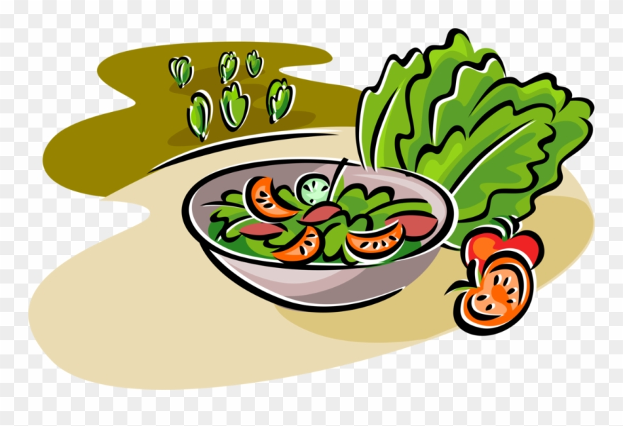 Vector Illustration Of Fresh Green Salad With Romaine.
