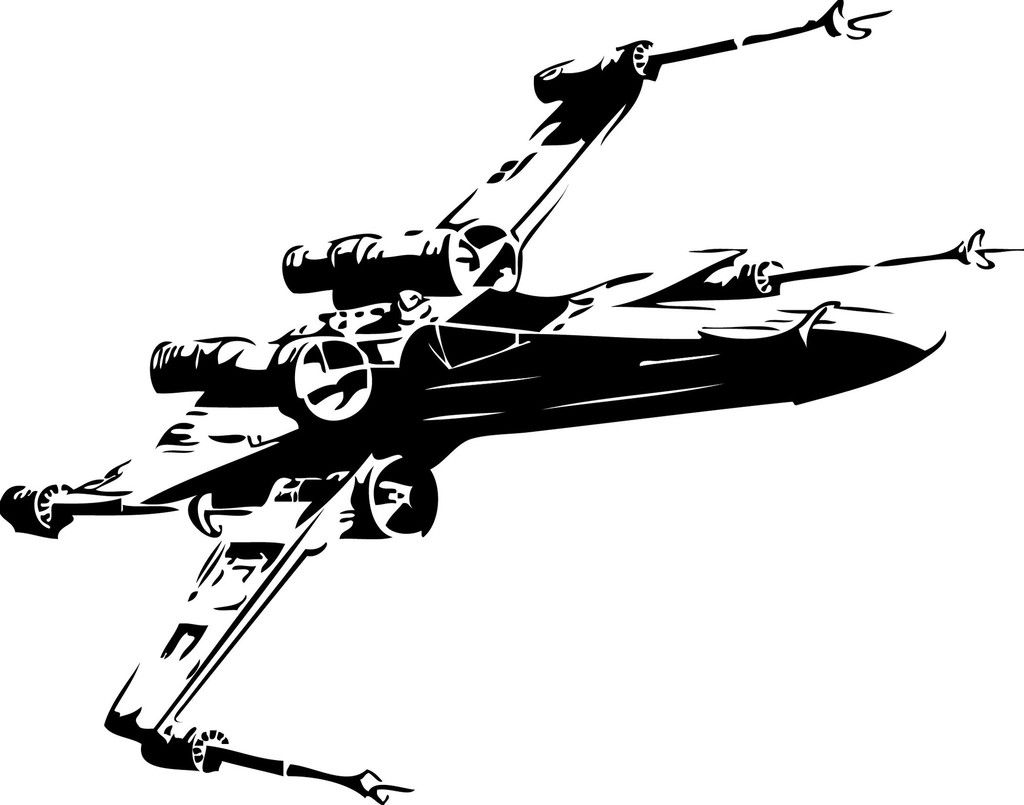 X Wing Fighter Vinyl Cut Out Decal, Sticker in your choice of Color.