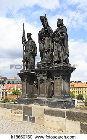 Stock Photography of Statue of Saints Norbert of Xanten, Wenceslas.
