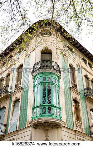 Drawings of balcony in Xativa, Valencia, Spain k16826374.