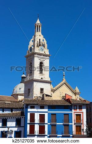 Stock Image of Bell Tower of the Collegiate Basilica of Santa.