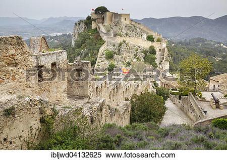 Stock Image of Xativa Castle, Xativa, Valencia, Spain, Europe.