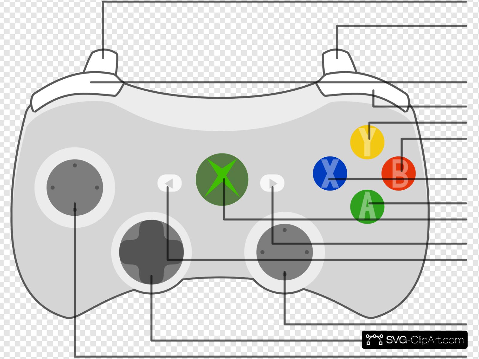 Xbox 360 Controller Diagram Clip art, Icon and SVG.