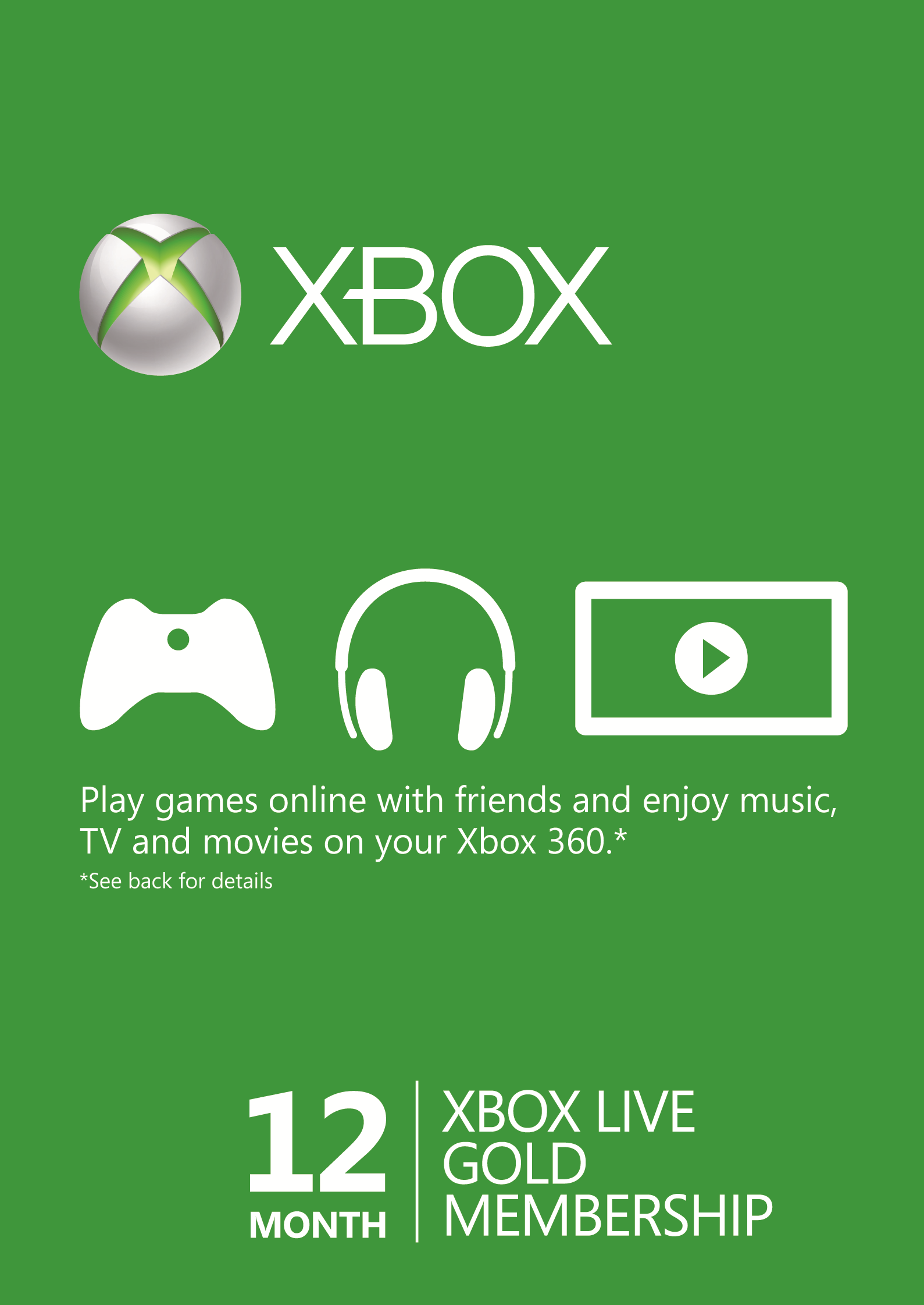 12 Month Xbox Live Gold Membership (Xbox One/360).