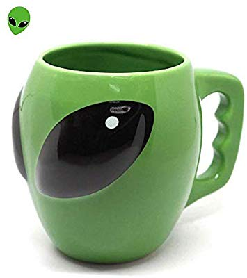 3D Aliens Cup Ceramic Cup Cool Mysterious UFO Conspicuous Ceramic Coffee mug.