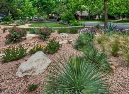 Flagstone Entry Path New Mexico Xeriscape, Dry Landscape.