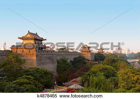 Stock Image of Xi'an city wall, China k4878465.