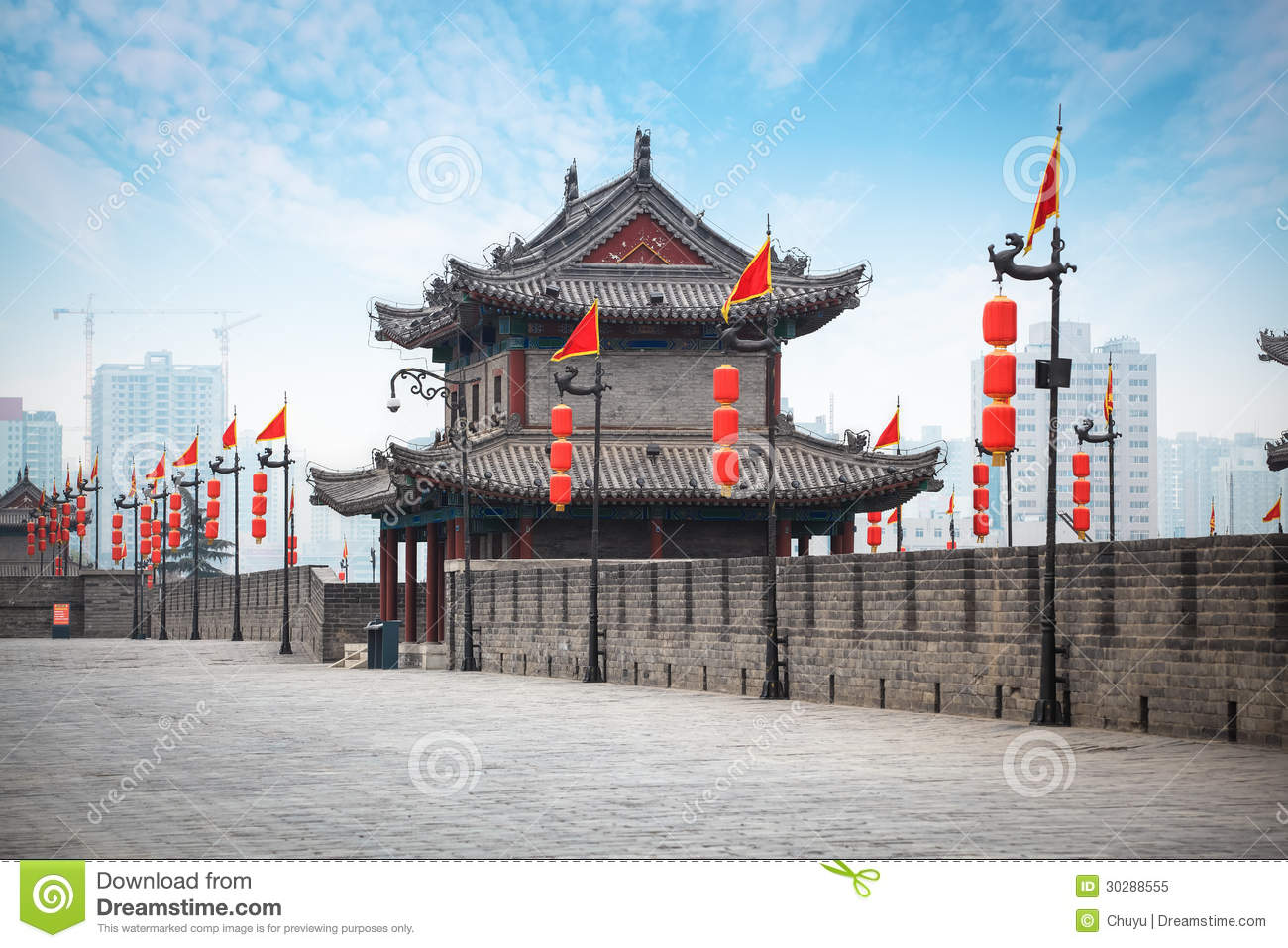 Ancient Tower On City Wall In Xi'an Royalty Free Stock Photo.