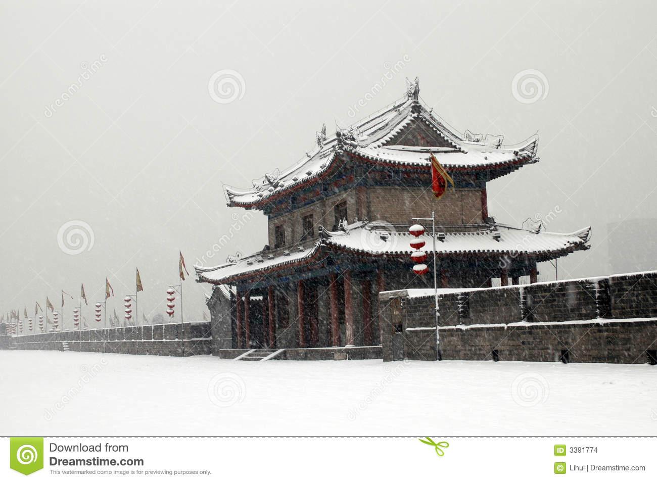 XIAN(XI'AN) CITY WALL SNOW Stock Images.