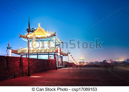 Stock Images of xi'an ancient city wall at night.