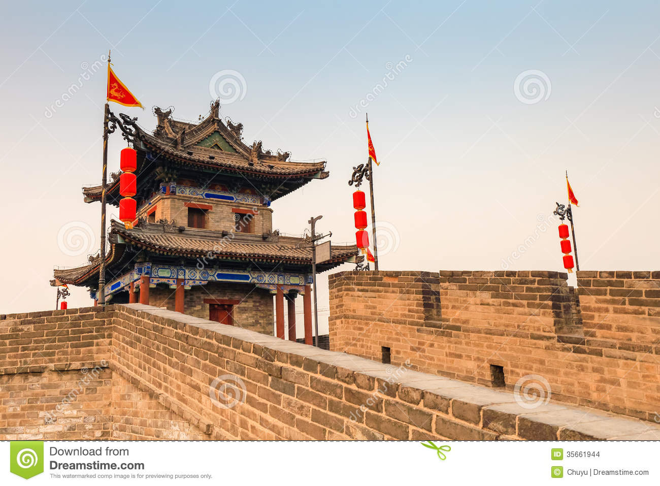 Xian Scenery On The Ancient City Wall Royalty Free Stock Image.