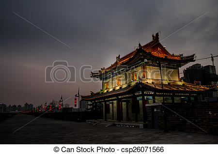 Stock Image of Xi'an City Wall Night.