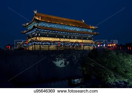 Stock Photograph of Illuminated building at Lianhu Ancient City.
