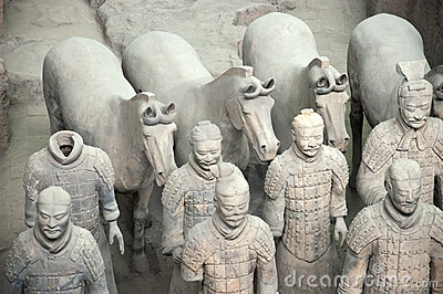 Terracotta Army Soldiers, Xian China, Closeup Royalty Free Stock.
