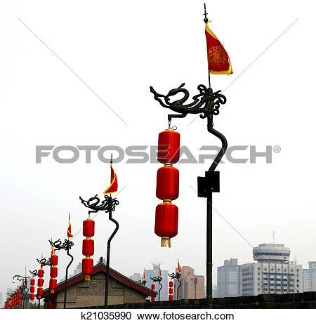 Stock Photography of Fortifications of Xian (Sian, Xi'an) an.