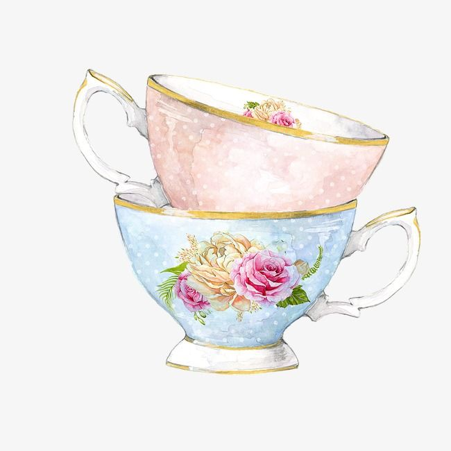 Cartoon Painted Two Flower Cup.