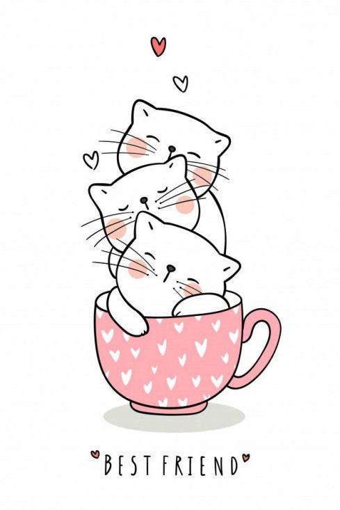 Desenhe adorável gato dormir em xícara de chá rosa pastel.