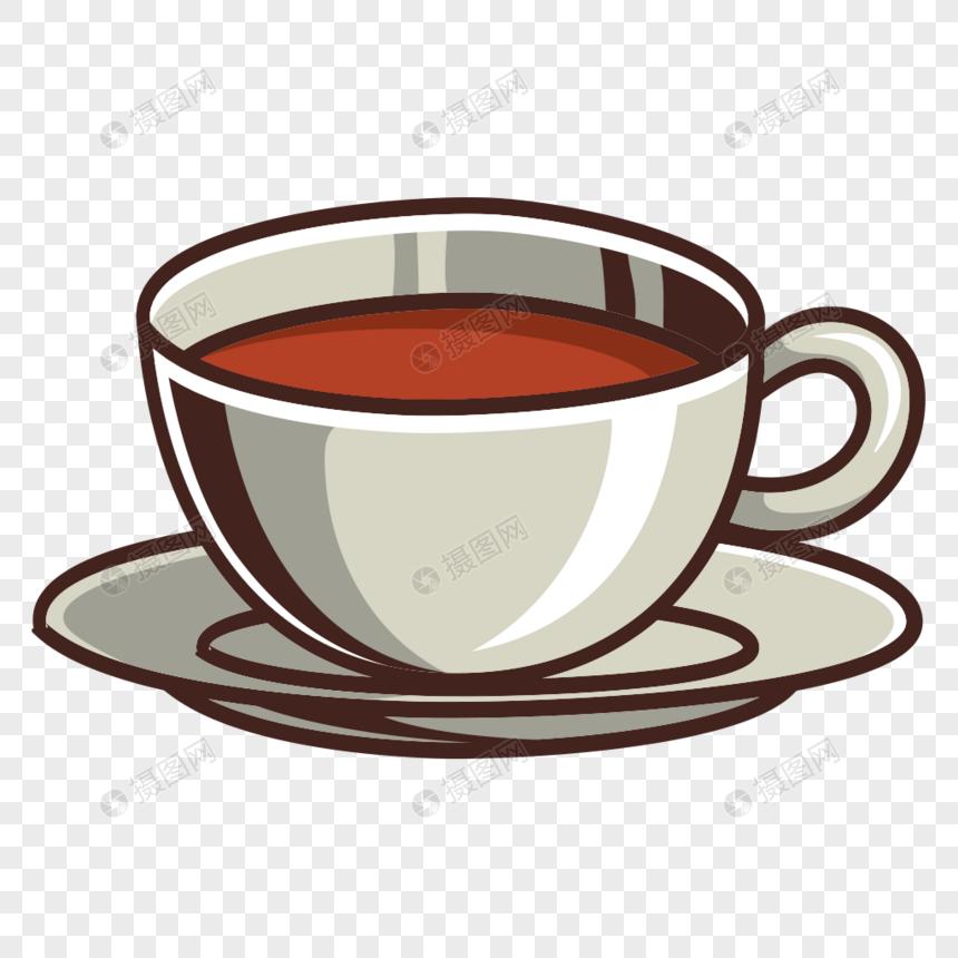 material de vetor de tema de xícara de chá pintados à mão Imagem.