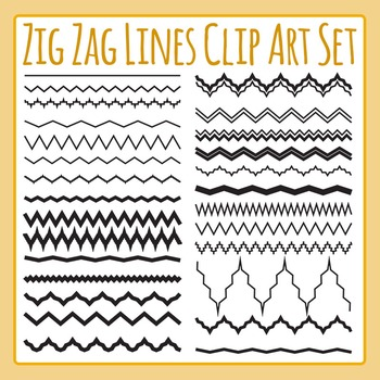 Zig Zag Lines Clip Art Set for Commercial Use.