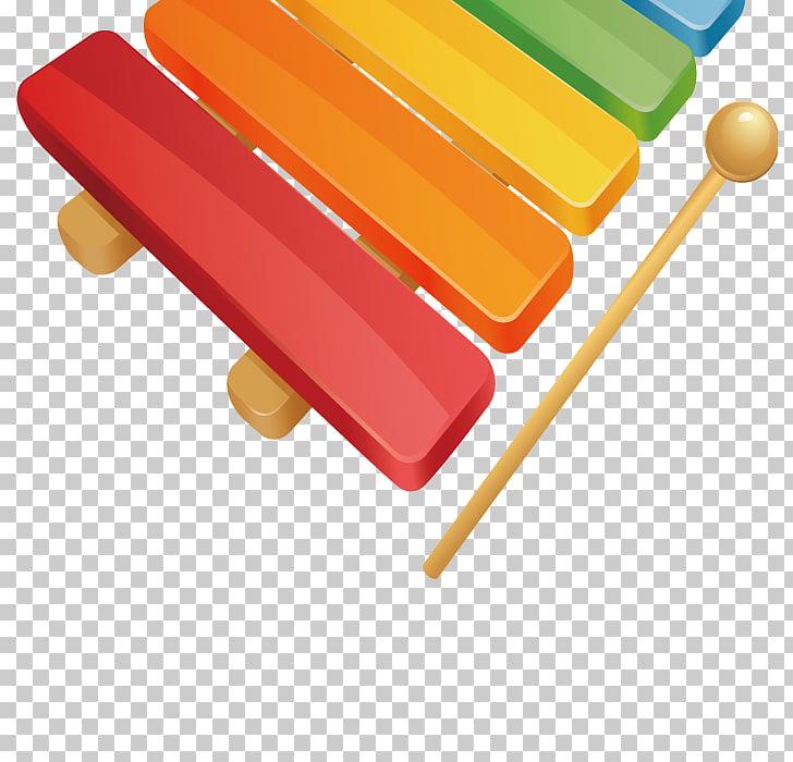 Instrumento musical de xilófono, escalera de color. PNG.