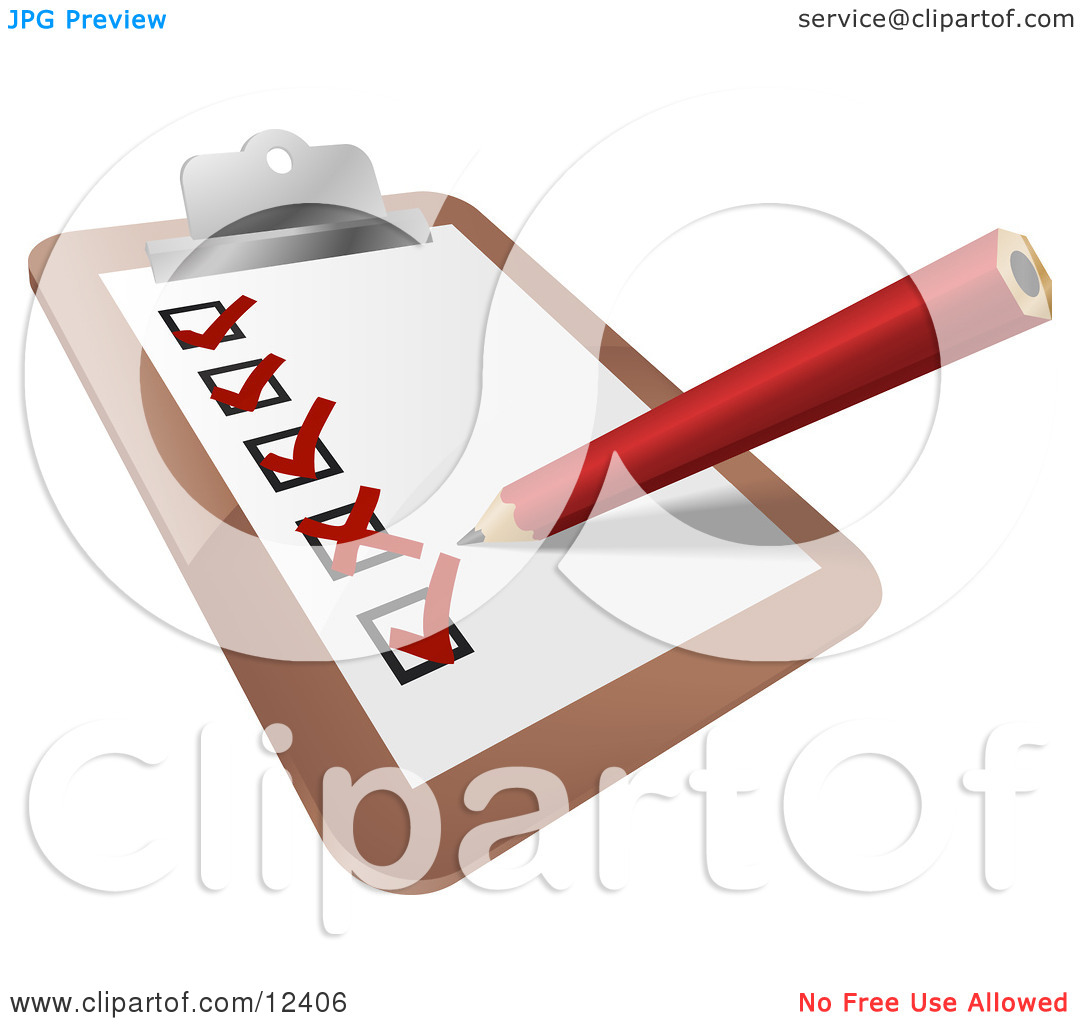 Red Pencil Xing Out Boxes of Completed Tasks on a Checklist on a.