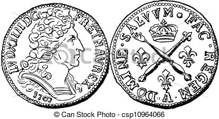 Clip Art Vector of Coin Currency, Louis XIV of France, vintage.