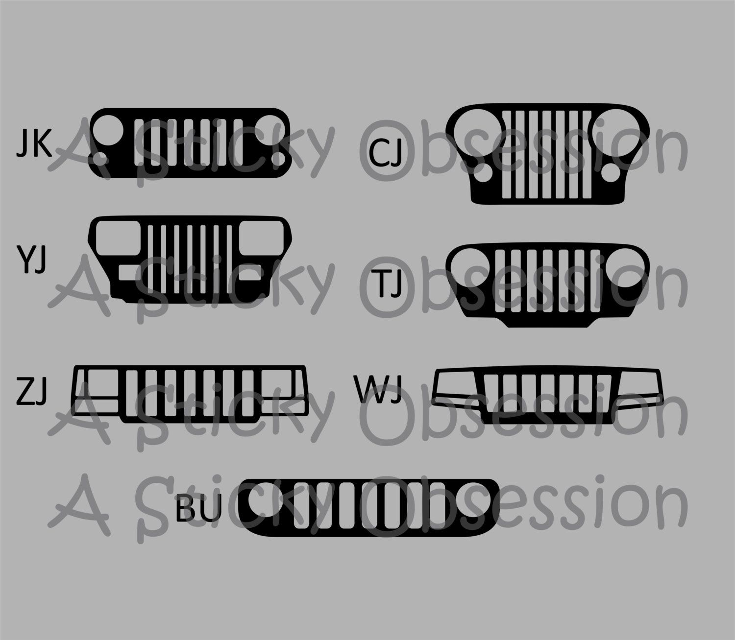 jeep wrangler yj grill decal.