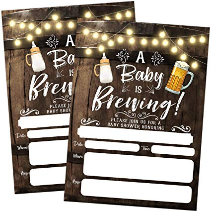 A Baby is Brewing Baby Shower Invitation, Beer and Bottle Couples Shower  Co.