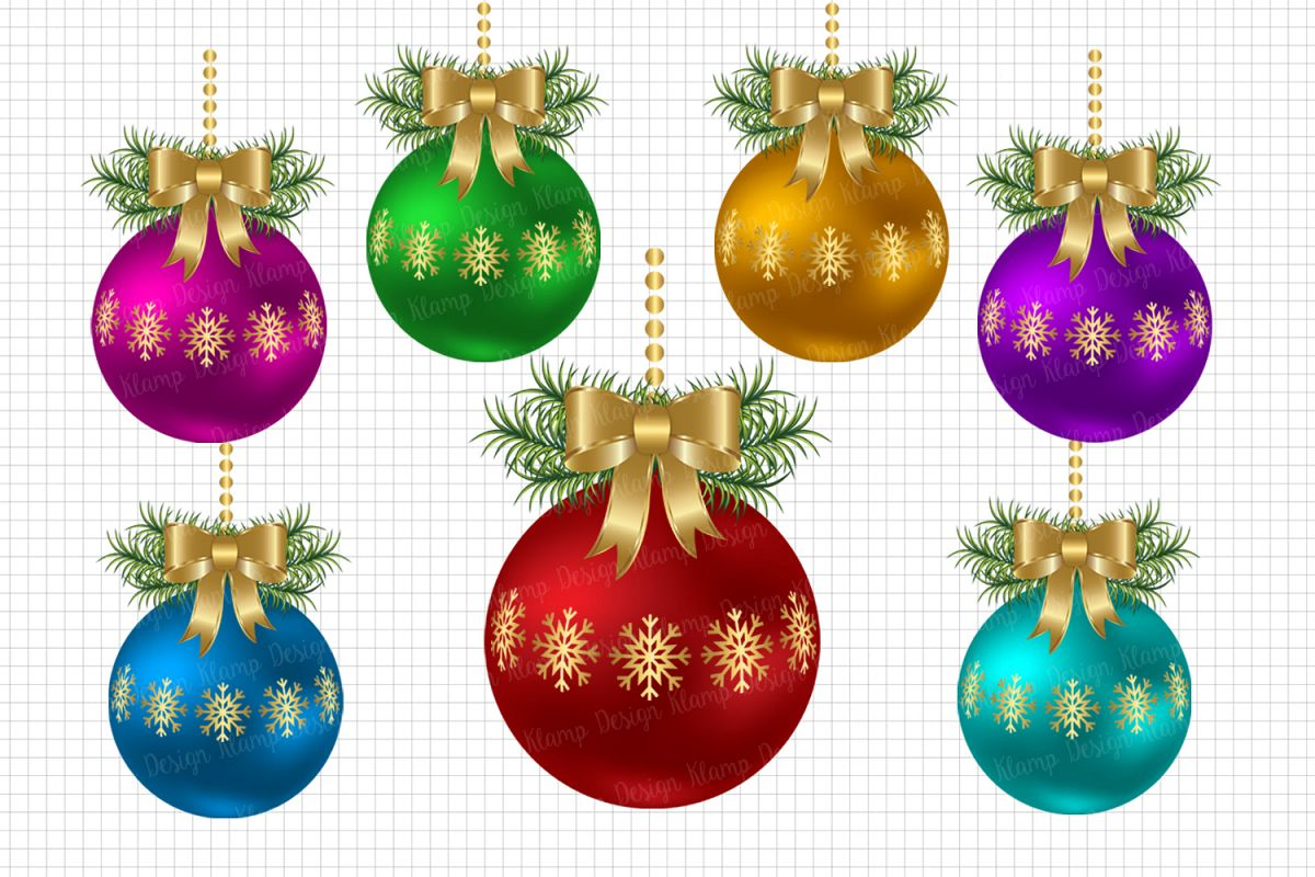 Christmas Balls Clipart, Christmas Graphic and Illustrations, Scrapbooking,  Card Making, Decorations.
