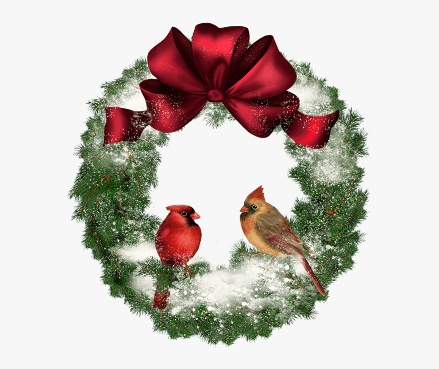 Christmas Wreath With Birds.