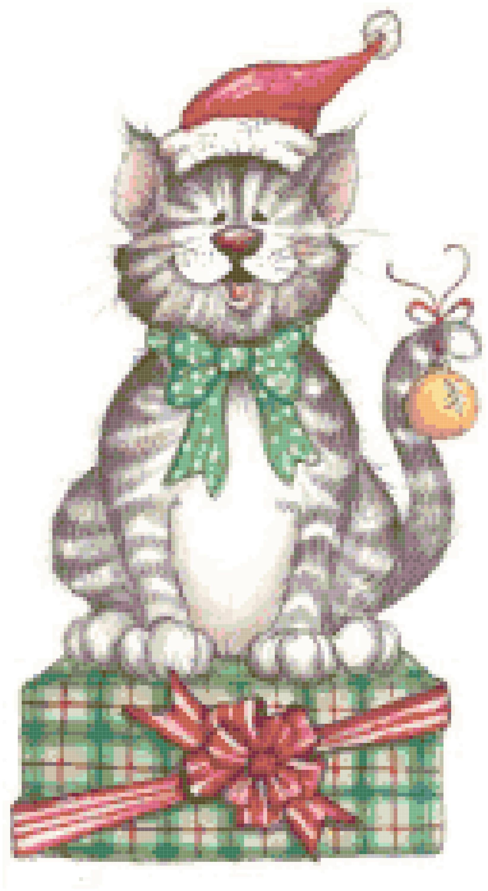 Christmas Cat Cross Stitch Pattern, Instant Download PDF.