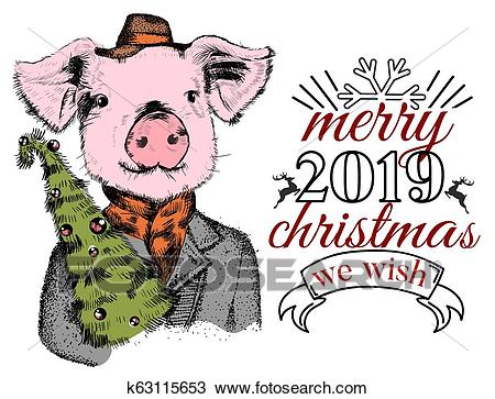 Funny pig with Xmas tree greeting card Clipart.