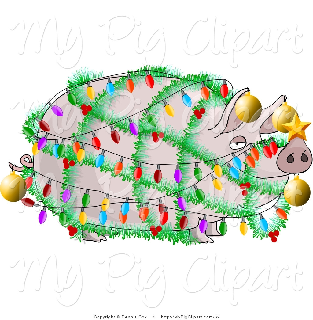 Swine Clipart of a Funny Pig Wrapped up in Christmas Lights and.