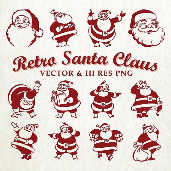 Retro Santa Claus Clipart Clip art Retro Christmas Xmas.