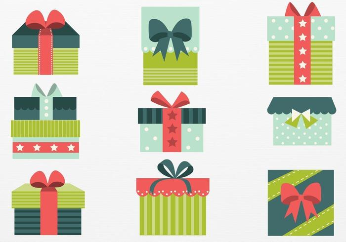 Retro Christmas Gift Vector Pack.