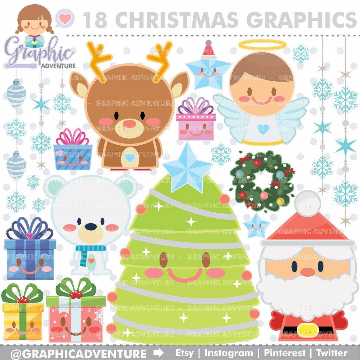 Christmas Clipart, Christmas Graphics, COMMERCIAL USE.