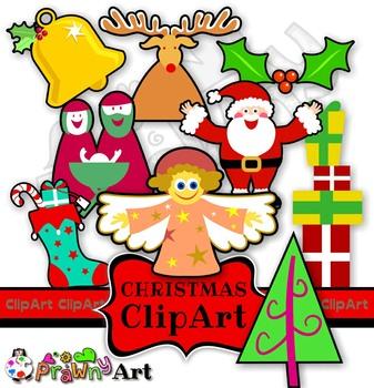 Festive Christmas Cartoon Clip Art Icons.