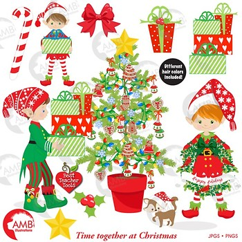Christmas Clipart, Christmas Boy Elves, Christmas Tree Clipart, AMB.