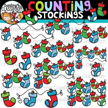 Counting Stockings Clipart {Christmas Clipart}.