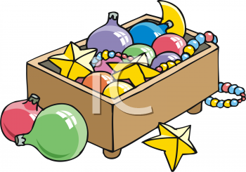 Box of Christmas Decorations Clipart Free.