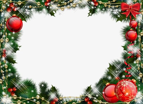 Fantasy Christmas Frame PNG, Clipart, Balls, Branches, Christmas.