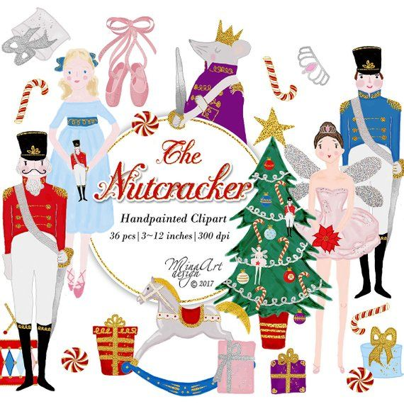 Nutcracker Clipart Watercolor Christmas Illustrations Glam.