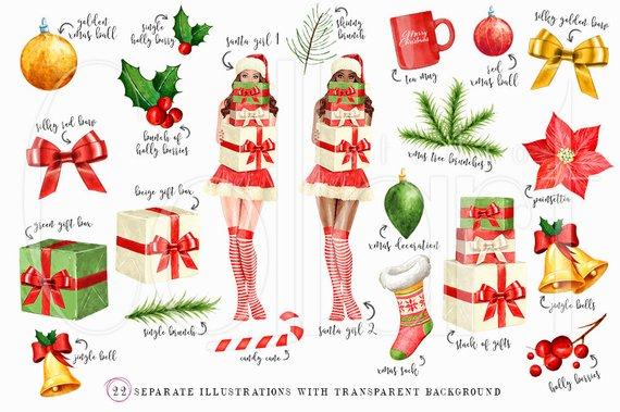 Christmas Clipart, Watercolor Christmas Clip Art, Christmas.