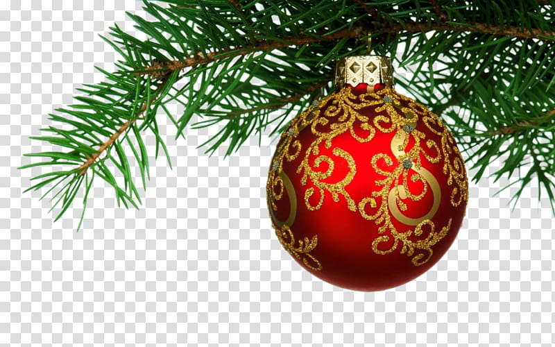 Xmas Watchers, red and gold floral Christmas bauble.