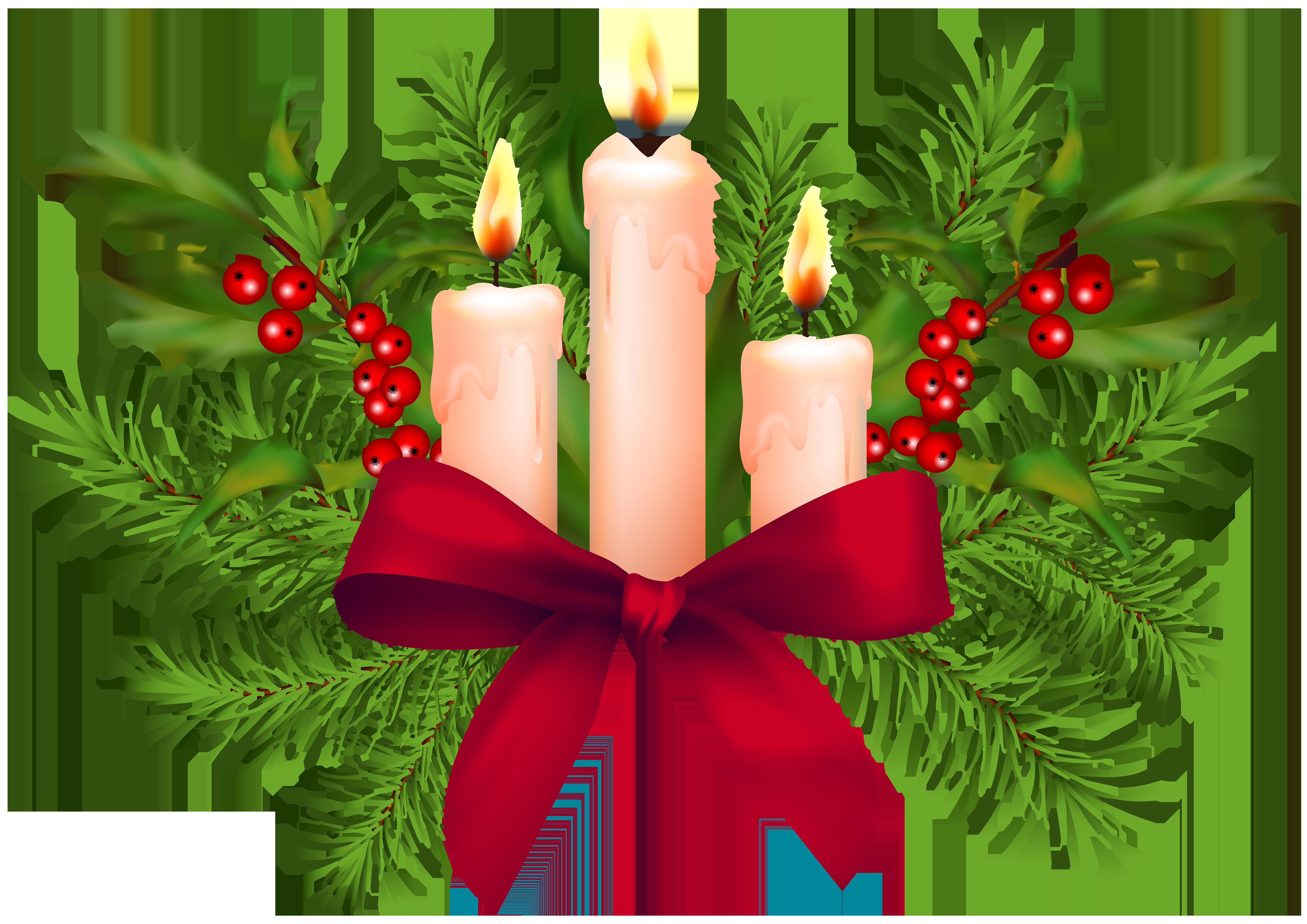 Christmas Candles Transparent PNG Clip Art.