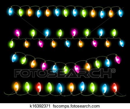 Christmas Lights Clipart Black Background.