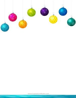 Christmas clipart border with hanging Christmas ornaments in.