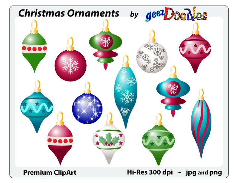 Christmas clip art ~ Christmas Ornaments clipart ~ Shiny Xmas decorations  for Christmas arts and crafts projects..
